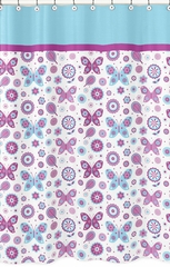 Butterfly Purple and Turquoise Shower Curtain