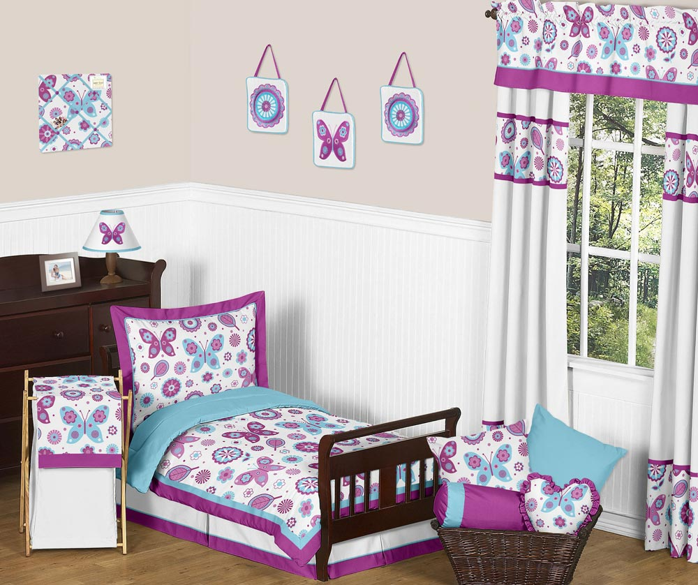 Flutter around butterfly toddler bedding set with pillowcase