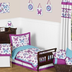 Butterfly Purple and Turquoise Toddler Bedding Set