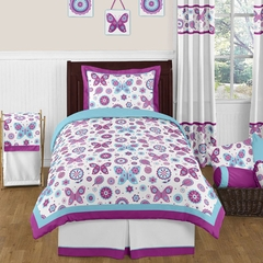 Butterfly Purple and Turquoise Twin 4 Pc Set