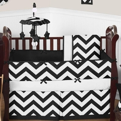 Chevron Black and White Crib Bedding - 9 Piece Set