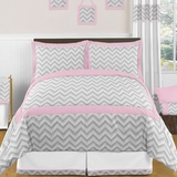 Chevron Girls Pink and Gray Full/Queen Bedding Zig Zag Set