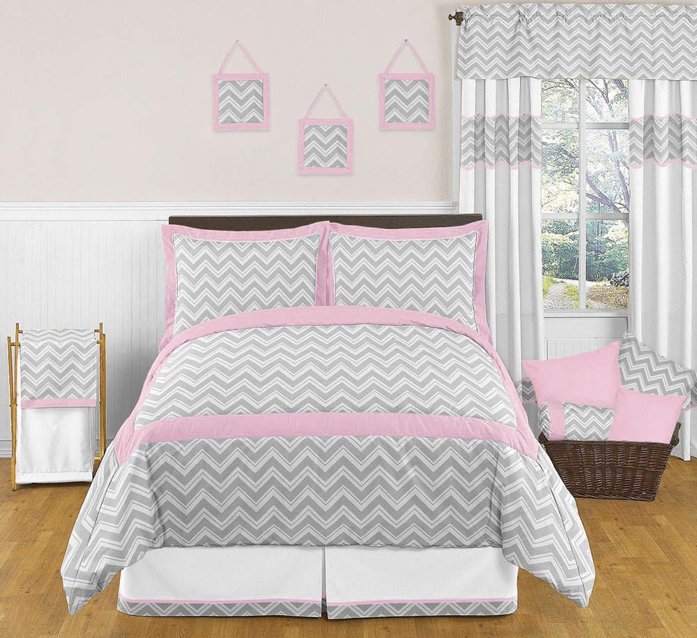 Chevron Girls Pink And Gray Full Queen Bedding Zig Zag Set