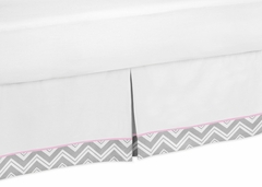 Chevron Girls Pink and Gray Queen Bed Skirt