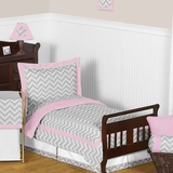Chevron Girls Pink and Gray Toddler Bedding Zig Zag Set