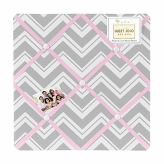 Chevron Girls Pink, White and Gray Fabric Memo Board