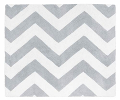 Chevron Gray and White Accent Floor Rug