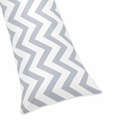 Chevron Gray and White Collection Body Pillow Cover