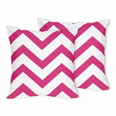 Chevron Hot Pink and White Decorative Accent Throw Pillows