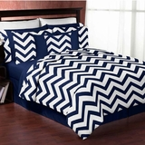 Chevron Navy and White 3pc Teen or Kids Full/Queen Bedding Collection