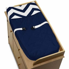 Chevron Navy and White Changing Pad Cover by Sweet Jojo Designs