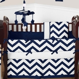 Chevron Navy and White Crib Bedding - 9 Piece Set
