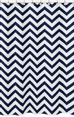 Chevron Navy and White Shower Curtain
