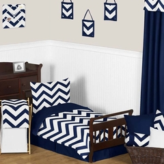 Chevron Navy and White Toddler Bedding Set by Sweet Jojo Designs