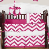 Chevron Pink and White Crib Bedding - 9 Piece Set