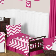 Chevron Pink and White Toddler Bedding Set by Sweet Jojo Designs