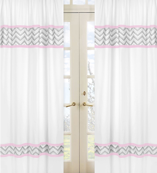 Chevron pink white and gray window panel curtains