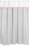 Chevron Pink, White and Gray Zig Zag Shower Curtain