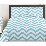 Chevron Turquoise and White 3pc Teen or Kids Full/Queen Bedding Collection