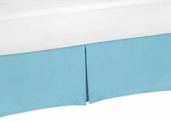 Chevron Turquoise and White Collection King Bed Skirt Solid Turquoise