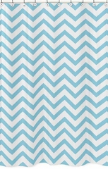Chevron Turquoise and White Shower Curtain