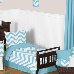 Chevron Turquoise and White Toddler Bedding Set by Sweet Jojo Designs