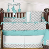 Chevron Zig Zag Turquoise, White and Gray Baby Crib Bedding - 9 Pc Set