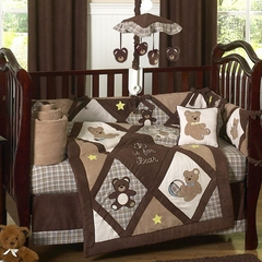 Chocolate Teddy Bear Baby Bedding - 9 Piece Crib Set