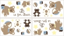 Chocolate Teddy Bear Wall Decals by Sweet Jojo Designs