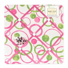 Circles Pink and Green Fabric Memo Board