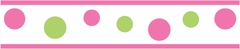 Circles Pink and Green Polka Dot Wall Paper Border Sweet Jojo Designs