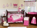 Circles Pink Mod Baby Bedding - 9 Piece Crib Set