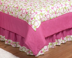 Circles Pink Mod Queen Bed Skirt by Sweet Jojo Designs