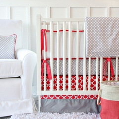 Coral and Gray Baby Bedding - Caden Lane