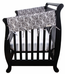 Crib Wrap Side Crib Rail Cover Teething Guard - Black & White Zebra