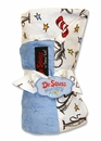 Dr. Seuss Cat in the Hat  Blue Star Velour Blanket