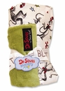 Dr. Seuss Cat in the Hat Green Star Velour Blanket