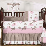 Elephant Pink Mod Girl's Baby Bedding - 9 Pc Crib Set
