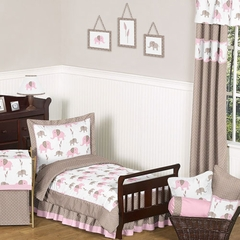 Elephant Pink Mod Girl's Bedding - 5 Pc Toddler Bedding Set