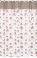 Elephant Pink Mod Shower Curtain by Sweet Jojo Designs