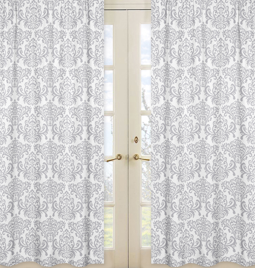 Elizabeth Gray and White Damask Print Window Panel Curtains