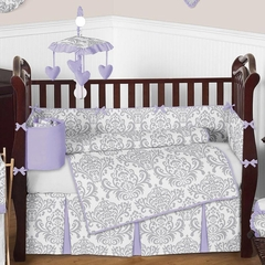 Elizabeth Lavender and Gray Damask Baby Bedding 9 Pc Crib Set