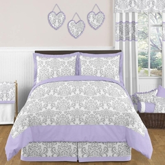 Elizabeth Lavender and Gray Damask Bedding 3 Pc Full/Queen Set