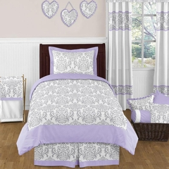 Elizabeth Lavender and Gray Damask Bedding 4 Pc Twin Set