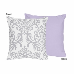 Elizabeth Lavender and Gray Damask Decorative Accent Throw Pillow