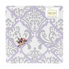 Elizabeth Lavender and Gray Damask Fabric Memo Board
