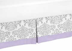 Elizabeth Lavender and Gray Damask Queen Bed Skirt