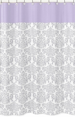 Elizabeth Lavender and Gray Damask Shower Curtain