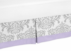 Elizabeth Lavender and Gray Damask Toddler Bed Skirt