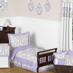 Elizabeth Lavender and Gray Damask Toddler Bedding Set